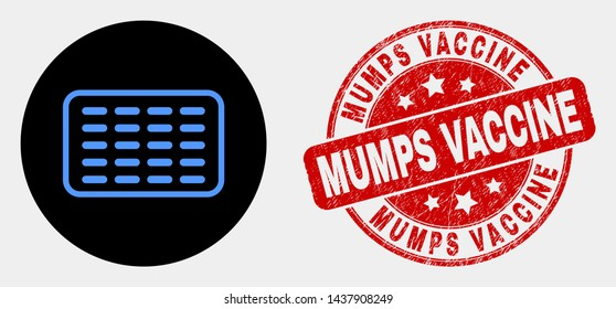 Rounded pills blister pictogram and Mumps Vaccine stamp. Red rounded textured stamp with Mumps Vaccine text. Blue pills blister icon on black circle.