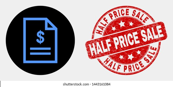 Rounded price page pictogram and Half Price Sale seal stamp. Red rounded textured seal stamp with Half Price Sale text. Blue price page icon on black circle. Vector combination in flat style.