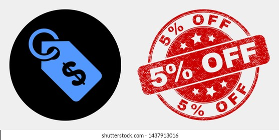 Rounded price tag icon and 5% Off seal stamp. Red round grunge seal stamp with 5% Off caption. Blue price tag icon on black circle. Vector composition for price tag in flat style.