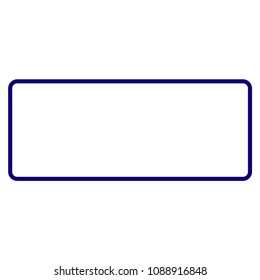 Rounded rectangle frame template. Vector draft element for stamp seals in blue color.