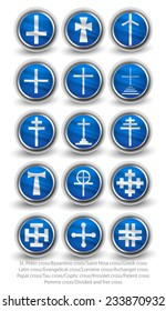 Rounded religion cross set. Part 2. Vector icons.