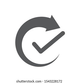 Rounded rotate arrow with check mark icon. Concept of productivity, efficiency, or continuous convenience