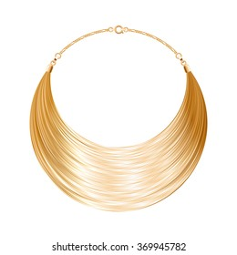 Rounded simple golden metallic necklace or bracelet. Personal fashion accessory design. Vector illustration.