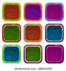 Rounded square app icon frames set, colorful vector templates, isolated on white