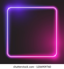 Rounded square glowing neon banner