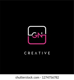 Rounded square gn logo letter design concept in neon red and white colors