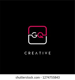 Rounded square gq logo letter design concept in neon red and white colors