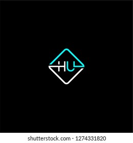 rounded square hu logo letter design concept in cyan and white colors