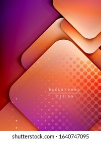 Rounded squares shapes composition geometric abstract background. 3D shadow effects and fluid gradients. Modern overlapping forms. Vector Illustration For Wallpaper, Banner, Background, Card, Book