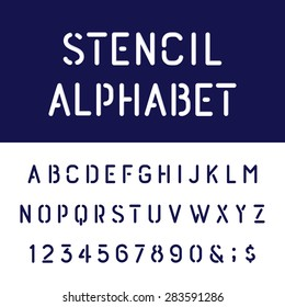The Rounded Stencil Alphabet Vector Font Type letters, numbers and punctuation marks. The Stencil Rounded Bold Vector Font.