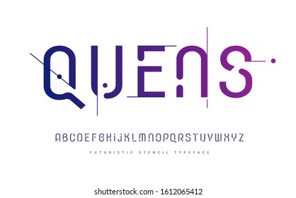 Rounded stencil san serif, alphabet, uppercase letters, typography. electronic dance music, poster font, trendy color Vector illustration.