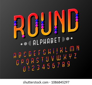 Rounded of stylized abstract italic alphabet and font with colorful round inserts similar to sweets.