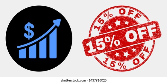 Rounded success financial chart icon and 15% Off stamp. Red rounded scratched seal stamp with 15% Off caption. Blue success financial chart icon on black circle.
