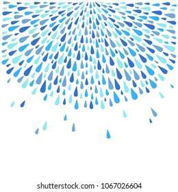 Rounded template, border made of uneven water drops, droplets, raindrops, tears of various size. Radial template with space for text, design element. Shades of blue abstract rainy square background.