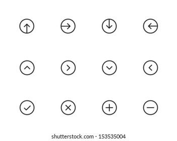 Rounded Thin Icon Set 01 - Arrows, Pointers, Ticks, Crosses, Plus & Minus