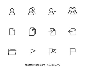 Rounded Thin Icon Set 01 - User, Group, Document, Import, Export, Folder, Flag
