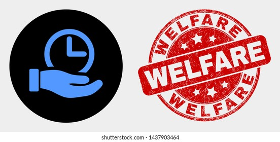 Rounded time service hand icon and Welfare stamp. Red rounded distress stamp with Welfare text. Blue time service hand icon on black circle. Vector composition for time service hand in flat style.