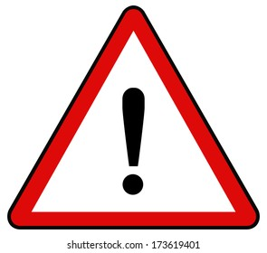 Rounded triangle shape hazard warning sign with exclamation mark symbol. Vector illustration