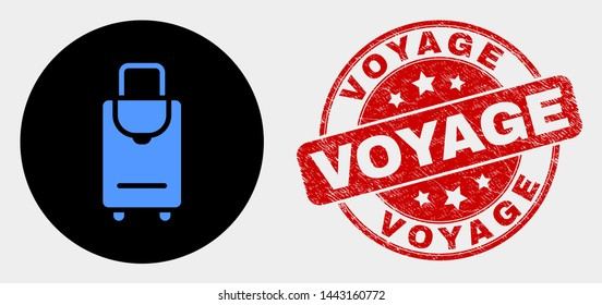Rounded voyage luggage icon and Voyage seal. Red rounded distress seal stamp with Voyage caption. Blue voyage luggage icon on black circle. Vector composition in flat style.
