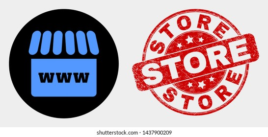 Rounded webshop icon and Store seal stamp. Red rounded distress stamp with Store caption. Blue webshop symbol on black circle. Vector combination for webshop in flat style.