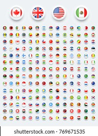 Rounded world flags button with shadow