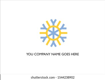 Rounded Yellow Sun and Blue Snowflake logo