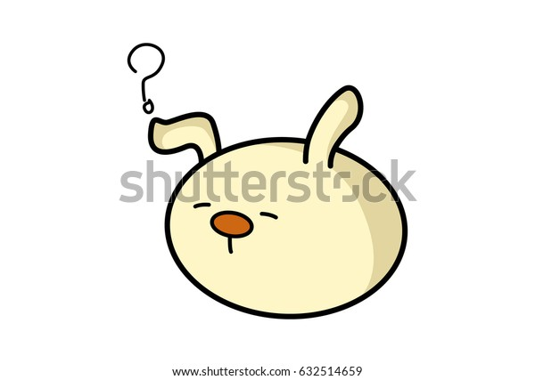 Roundy the Monster Confused. Vector Illustration. Isolated on white background.