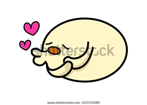 Roundy the Monster Kissing. Vector Illustration. Isolated on white background.