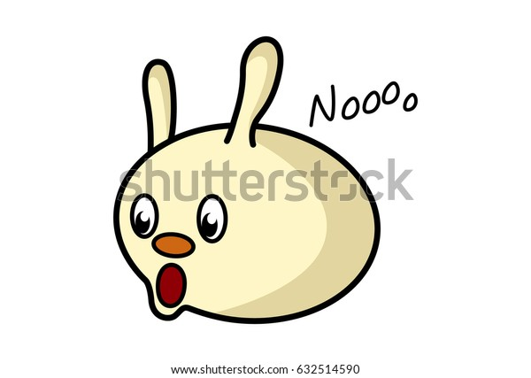 Roundy the Monster Saying NOooo. Vector Illustration. Isolated on white background.