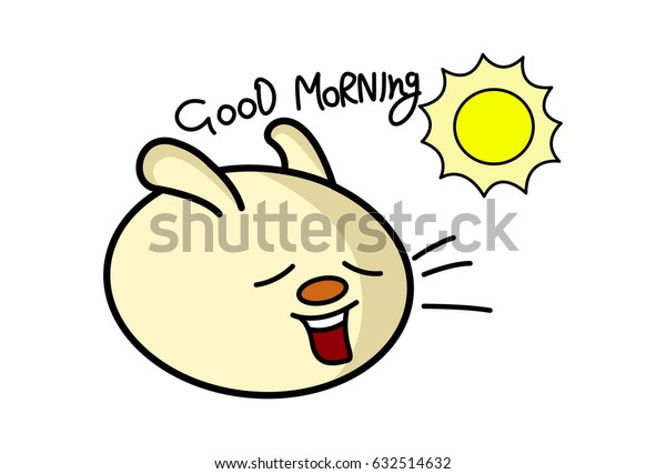 Roundy the Monster wishing Good Morning. Vector Illustration. Isolated on white background.