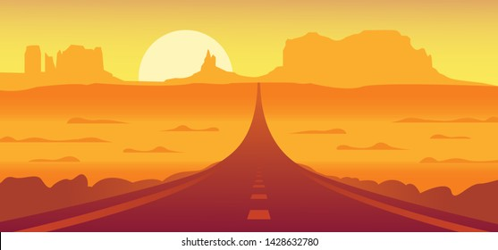 Route 66 and the Grand Canyon desert landscape vector illustration.