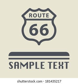 Route 66 icon or sign, vector illustration