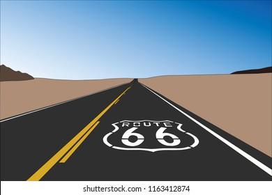 Route 66 pavement sign in the vast California Mojave desert.  Vector illustration.