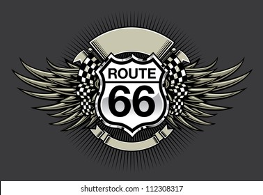 Route 66 Racing Design: Vector illustration of a racing emblem design with a Route 66 highway sign, blank banners, checkered flag and wings