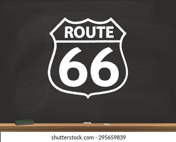 Route 66 Sign Chalkboard Illustration
