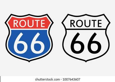 Route 66 sign. The first road sign in America. Vector illustration.