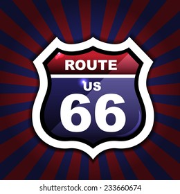 Route 66 sign set / origami / vintage label / tag