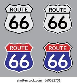 Route 66 Sign Set . Vector illustration
