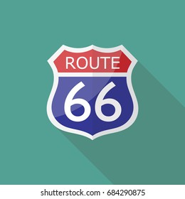 Route 66 Sign. Vector illustration
