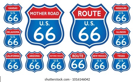 Route 66 traffic sign from United States of America with all related states in red blue design on isolated white background as vector