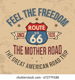 Route 66 typography for t-shirt print on retro style background, vector illustration