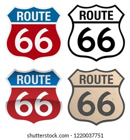 Route 66 vector signs illustration, in full color, black and white and antique versions