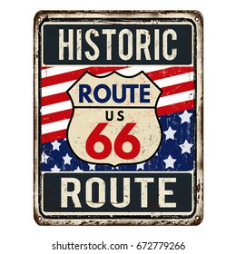 Route 66 vintage rusty metal sign on a white background, vector illustration