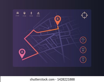 Route dashboard. City map navigation. Gps background. Vector illustration