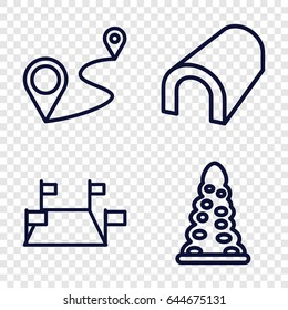 Route icons set. set of 4 route outline icons such as tunnel, distance