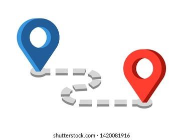 Route location icon. Two pins, blue pin, red pointer and dashed line as concept of travel map navigation, destination point, GPS tracking. Modern simple flat vector illustration of roadmap sign.