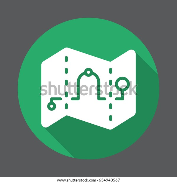 Route, Map waypoints flat icon. Round colorful button, circular vector sign with long shadow effect. Flat style design