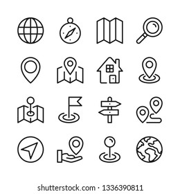 Route and navigation line icons set. Map, location. Modern graphic design concepts, simple outline elements collection. Vector line icons