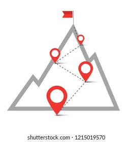 Route on Hill with Pins. Flag on Top of the Mountain. Vector Navigation Symbol. Business Success Concept.