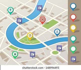 Route planning using map application on GPS smart device Finding interesting places to visit in the nearby city area.